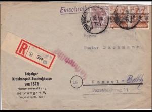 BiZone: Einschreiben von Stuttgart nach Kassel 1948