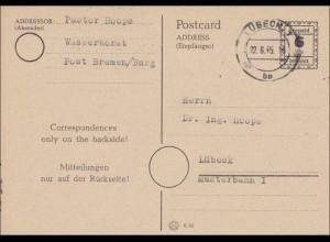 BiZone: Ganzsache von 1945 aus Lübeck