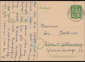 BiZone: Ganzsache von Bad Pyrmont 1950 nach Berlin , P2I
