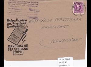 BiZone: Brief aus Fürth 1945 nach Schweinfurt - Bestätigung