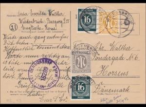 BiZone: Ganzsache von Oldenburg nach Dänemark mit Militär Zensur 1946