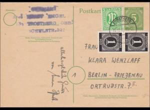 BiZone: Ganzsache von Trostberg nach Berlin 1946