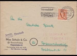 BiZone: Brief aus Braunschweig 1945 - Werbestempel: Rundfunk Störungen