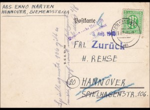 BiZone: Postkarte Hannover 1945 - Zurück