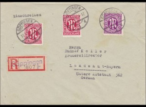 BiZone: Einschreiben aus Göppingen nach Landshut 1946, MiNr. 24Cz