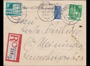 BiZone: Einschreiben aus Hannover nach Meiningen 1949
