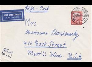 Luftpostbrief von Wuppertal 1960 nach USA
