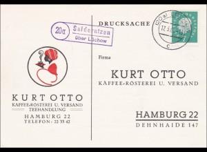 Drucksache Postkarte Salderatzen über Lückow 1960 Kaffee-Rösterei - Teehandlung