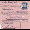 Postanweisung Olivetti AG Köln nach Aachen - Einzelfrankatur 1961