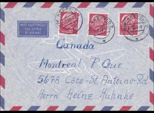 Luftpost Brief von Kreefeld nach USA 1957