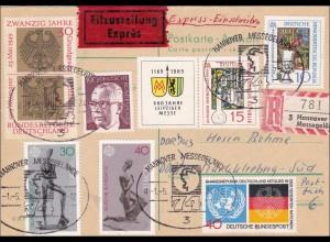 Einschreiben - Eilboten Postkarte von der Messe Hannover 1974