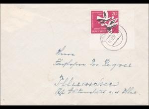 Brief von Dirlewang nach Illeraichen 1957 - Eckrand Marke