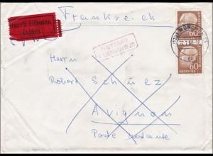 Eilboten Brief von München nach Frankreich und zurück 1960