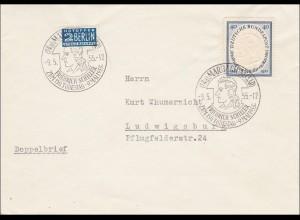 Brief von Marbach nach Ludwigsburg mit Sonderstempel Schiller 1955, FDC