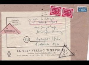 Päckchen Nachnahme - Adressauschnitt von Würzburg nach Speyer 1952