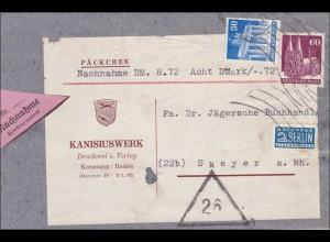 Nachnahme Päckchen - Adressauschnitt von Konstanz nach Speyer