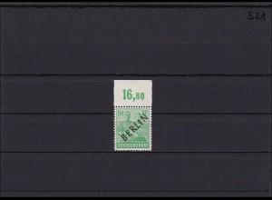 Berlin MiNr. 16 ,** postfrisch, Oberrand Platte, nicht durchgezähnt