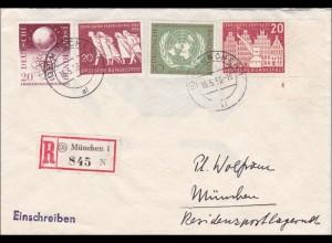 Einschreiben von München 1956 - Eckrand Marke