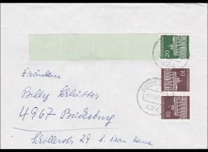 Brief aus Emmerich mit Rollenendstreifen 1967