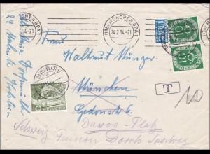 Brief aus München mit Weiterleitung in die Schweiz - Nach Taxe 1954