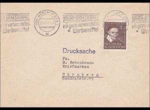 Drucksache Brief von München nach Nürnberg 1951