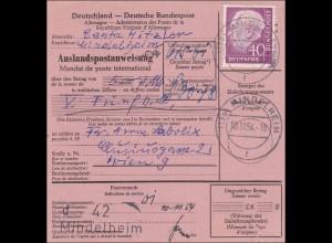 Auslandspostanweisung Mindelheim 1954 EF