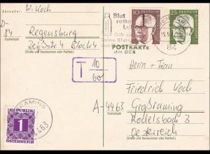 Ganzsache von Regensburg nach Österreich - Nach Taxe 1972