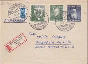 1953 Frankfurt nach Offenbach, Sonderstempel internat. Automobilausstellung