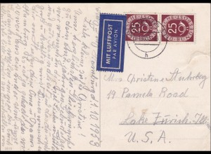 Postkarte aus Hamburg 1953 als Luftpost nach USA