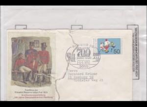 Hamburg 1975 Briefmarkenausstellung. Brief zerissen und Amtlich verschlossen