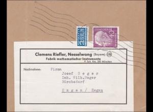 Ausschnitt schwere Briefsendung 21-250g, von Nesselwang