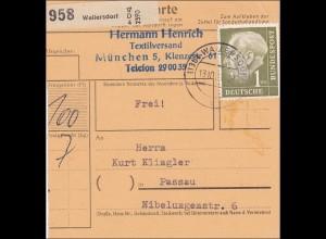 Paketkarte aus Wallersdorf nach Passau 1951 - EF