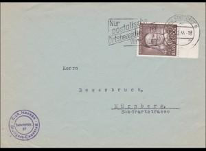 Brief aus Stuttgart Cannstatt nach Nürnberg 1954