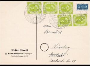 Schwaikheim-Mehrfachfrankatur nach Nürnberg, Sonderstempel Posthorn 1953