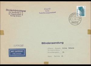 Blindenhörbücherei an Blindenschule als Blindensendung - Luftpost, Geprüft, 1990