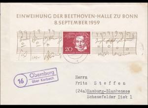 Brief aus Obernburg über Korbach nach Hamburg 1959
