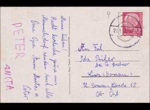 Ansichtskarte Memmelsdorf/Mainfranken nach Österreich 1955