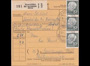Paketkarte Nesselröden nach Gerstungen mit Mehrfachfrankatur 1961