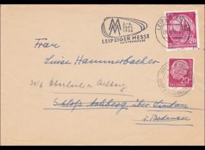 Brief von der Leipziger Messe 1956, Mischung DDR - BRD Marken