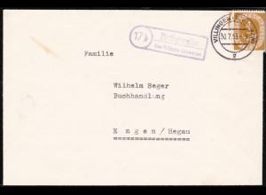 Trauerbrief von Pfaffenweiler/Villingen-Schwenningen nach Engen 1953