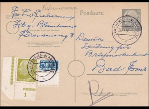 Ganzsache von Hamburg nach BAd Ems 1956