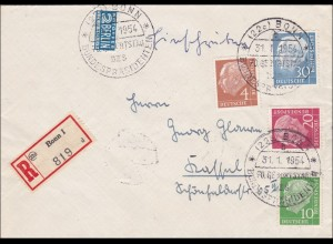 Einischreiben Bonn - 1954 Geburtstag des Bundespräsidenten nach Kassel, FDC