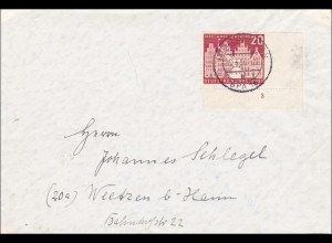 Brief aus Hannover 1956 nach Weetzen bei Hamm - Eckrandmarke Nr. 3