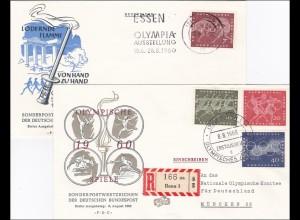 Olympische Spiele 1960 - Einschreiben Erstausgabe, 2 Briefe, 1x gelaufen, FDC