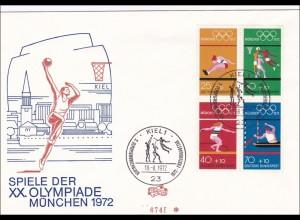 Olympiade München 1972, Erstausgabe Kiel FDC