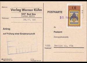Postkarte - Prüfung einer Einziehanschrift 1976 - Einzelfrankatur MiNr. 903