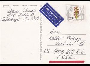 Postkarte Fernschach - Berlin CSSR Luftpost