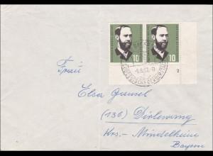 Brief aus Backnang 1957 nach Dirlewang, MeF und Eckrandmarke