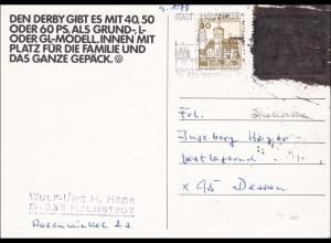Postkrieg Helmstedt - Derby Kfz Ansichtskarte nach Dessau
