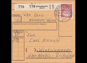 Paketkarte von Herleshausen 1960 nach Wintzingerode